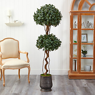 "68"" Sweet Bay Double Ball Topiary Artificial Tree in Ribbed Metal Planter, , rollover"