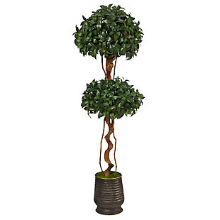"68"" Sweet Bay Double Ball Topiary Artificial Tree in Ribbed Metal Planter, , large"