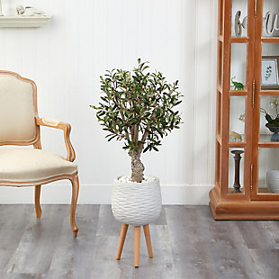 3.5' Olive Artificial Tree in White Planter with Stand, , rollover