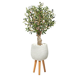 3.5' Olive Artificial Tree in White Planter with Stand, , large