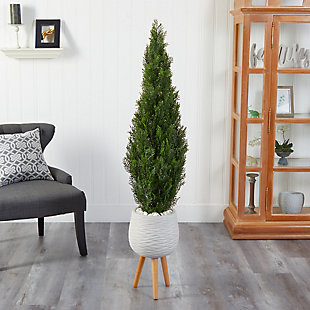 5' Cedar Artificial Tree in White Planter with Stand (Indoor/Outdoor), , rollover