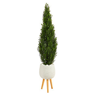 5' Cedar Artificial Tree in White Planter with Stand (Indoor/Outdoor), , large