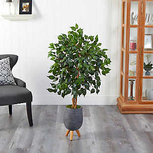 4' Ficus Artificial Tree in Gray Planter with Stand, , rollover