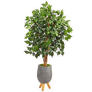 4' Ficus Artificial Tree in Gray Planter with Stand, , large