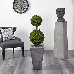4' Double Boxwood Topiary Artificial Tree in Cement Planter (Indoor/Outdoor), , rollover