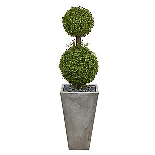 4' Double Boxwood Topiary Artificial Tree in Cement Planter (Indoor/Outdoor), , large