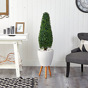 "51"" Boxwood Tower Artificial Topiary Tree in White Planter with Stand UV Resistant (Indoor/Outdoor), , rollover"