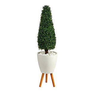 "51"" Boxwood Tower Artificial Topiary Tree in White Planter with Stand UV Resistant (Indoor/Outdoor), , large"