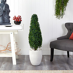 3.5' Boxwood Tower Artificial Topiary Tree in White Planter UV Resistant (Indoor/Outdoor), , rollover