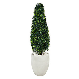 3.5' Boxwood Tower Artificial Topiary Tree in White Planter UV Resistant (Indoor/Outdoor), , large