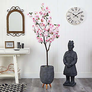 6' Cherry Blossom Artificial Tree in Gray Planter with Stand, , rollover