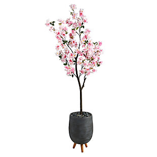 6' Cherry Blossom Artificial Tree in Gray Planter with Stand, , large