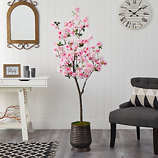 5.5' Cherry Blossom Artificial Tree in Ribbed Metal Planter, , rollover
