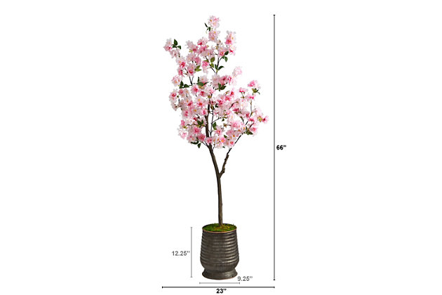 5.5' Cherry Blossom Artificial Tree in Ribbed Metal Planter, , large
