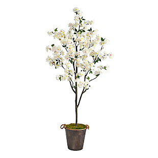 6' Cherry Blossom Artificial Tree in Decorative Metal Pail with Rope, , large