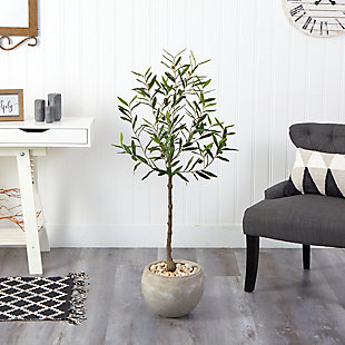 """50"""" Olive Artificial Tree in Sand Colored Planter, , rollover"""