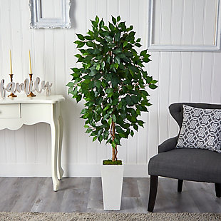 4.5' Ficus Artificial Tree in White Planter, , rollover