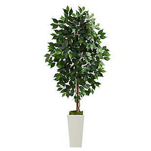 4.5' Ficus Artificial Tree in White Planter, , large