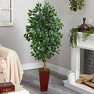 5' Ficus Artificial Tree in Bamboo Planter, , rollover