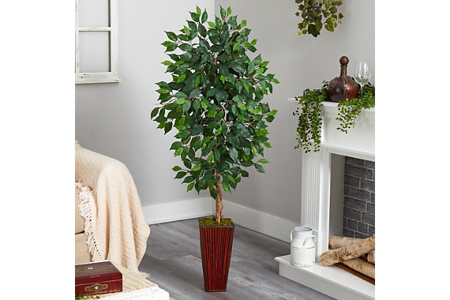 5' Ficus Artificial Tree in Bamboo Planter, , large
