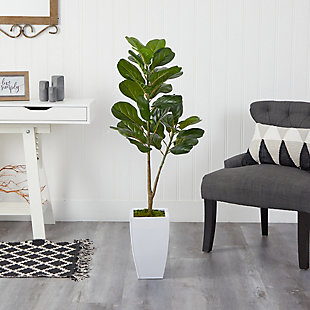4' Fiddle Leaf Fig Artificial Tree in White Metal Planter, , rollover