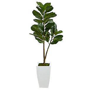 4' Fiddle Leaf Fig Artificial Tree in White Metal Planter, , large