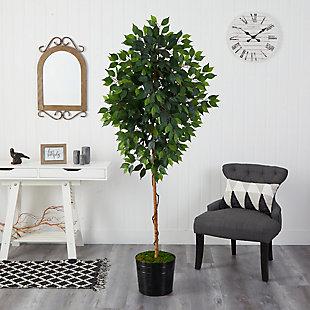 """74"""" Ficus Artificial tree in Black Tin Planter, , rollover"""