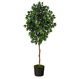 """74"""" Ficus Artificial tree in Black Tin Planter, , large"""