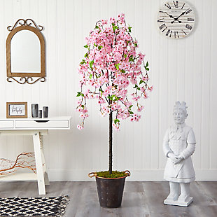 6' Cherry Blossom Artificial Tree in Decorative Metal Pail with Rope, , rollover