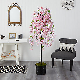 6' Cherry Blossom Artificial Tree in Black Tin Planter, , rollover