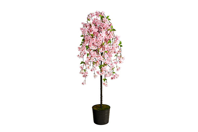 6' Cherry Blossom Artificial Tree in Black Tin Planter, , large