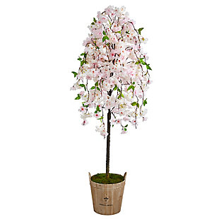 """70"""" Cherry Blossom Artificial Tree in Farmhouse Planter, , large"""