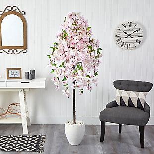 """70"""" Cherry Blossom Artificial Tree in White Planter, , rollover"""