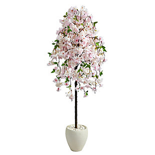 "70"" Cherry Blossom Artificial Tree in White Planter, , large"