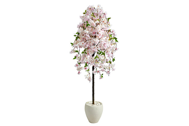 """70"""" Cherry Blossom Artificial Tree in White Planter, , large"""