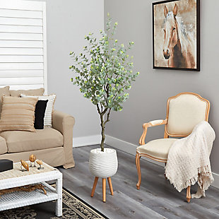 "70"" Eucalyptus Artificial Tree in White Planter with Stand, , rollover"