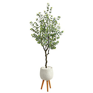"70"" Eucalyptus Artificial Tree in White Planter with Stand, , large"