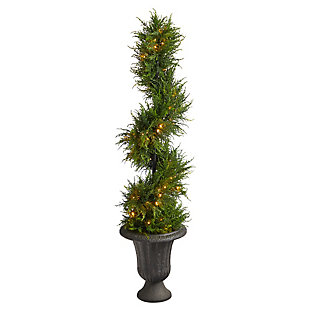 4.5' Spiral Cypress Artificial Tree in Charcoal Urn with 80 Clear LED Lights UV Resistant (Indoor/Outdoor), , large