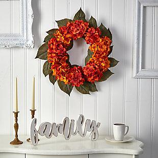 "20"" Autumn Hydrangea Artificial Wreath, , rollover"