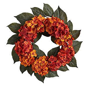 """20"""" Autumn Hydrangea Artificial Wreath, , large"""