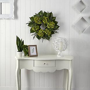 """24"""" Hydrangea and Eucalyptus Artificial Wreath, , rollover"""