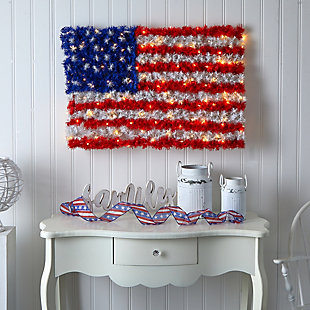 """3'x2' Red, White, and Blue """"American Flag"""" Wall Panel with 100 Warm LED Lights (Indoor/Outdoor), , large"""
