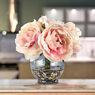 Peonies Floral Arrangement in Glass Vase, , rollover