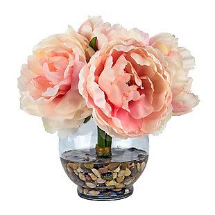 Peonies Floral Arrangement in Glass Vase, , large