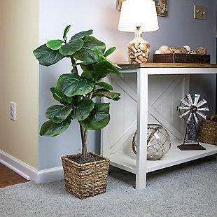 38-inch Mini Fiddle Leaf Fig Tree in Basket, , rollover