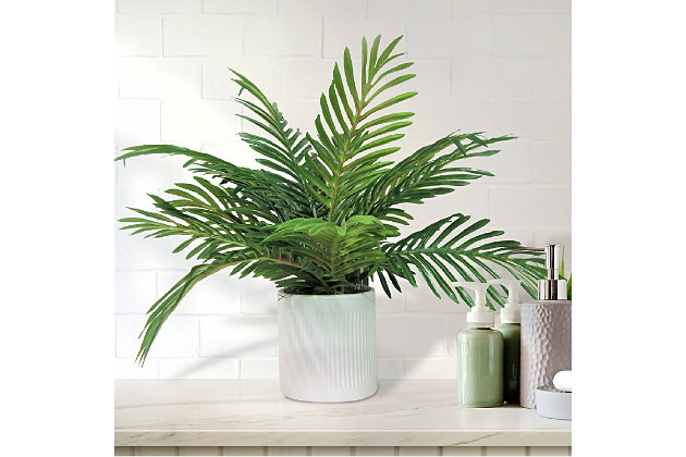 19-inch Phoenix Palm in Deco White Ceramic Pot, , large