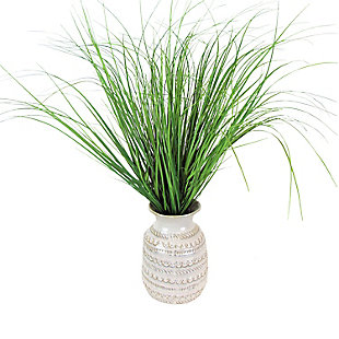 24-inch Grass in Patterned Ceramic Urn, , large