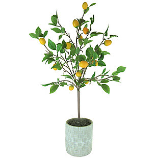 42-inch Lemon Tree in Embossed Concrete Pot, , large
