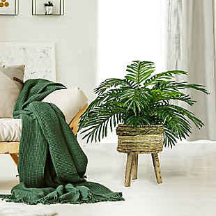 32-inch Palm in Tri-Color Basket Stand, , rollover