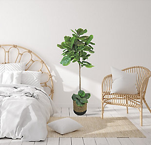 5-foot Fig Tree in Deco Black and Natural Basket, , rollover
